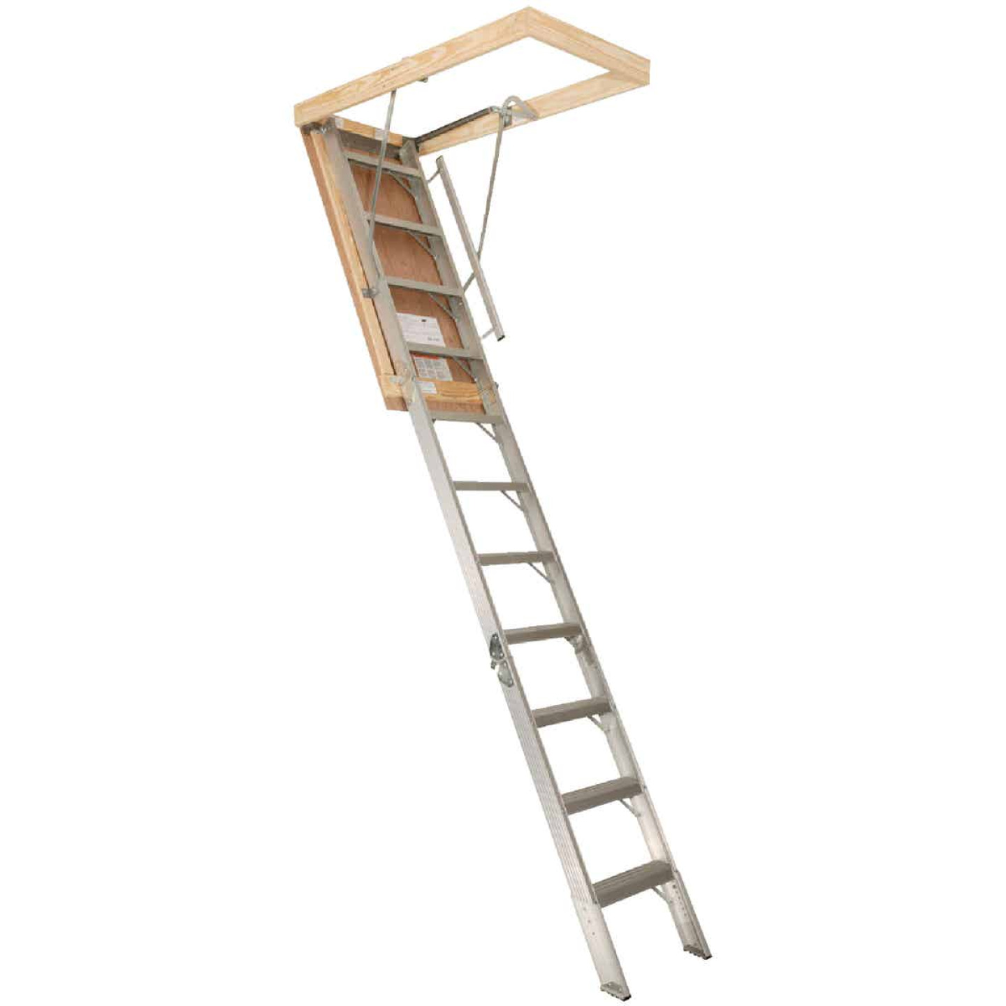 Louisville Elite 7 Ft. 8 In. to 10 Ft. 3 In. 22-1/2 In. x 54 In. Aluminum Attic Stairs, 375 Lb. Load Image 1