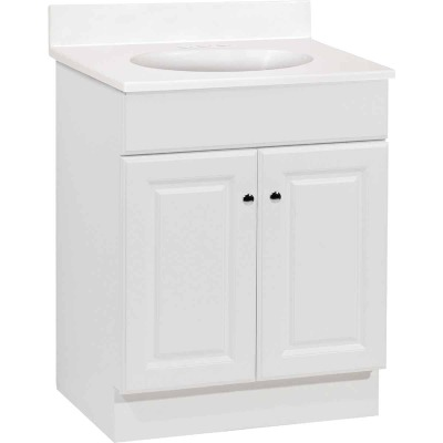 Continental Cabinets Richmond White 24-1/2 In. W x 35-1/4 In. H x 18-1/2 In. D Vanity with White Cultured Marble Top