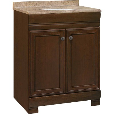 Continental Cabinets Westbrook Cafe Black Glaze 24-1/2 In. W x 34-1/2 In. H x 18-1/2 In. D Vanity with Kona/Wht Solid Surface Technology Top