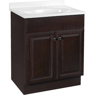 Continental Cabinets Richmond Java 24-1/2 In. W x 35-1/4 In. H x 18-1/2 In. D Vanity with White Cultured Marble Top