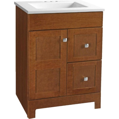 Continental Cabinets Allenton Auburn 24-1/2 In. W x 34-1/2 In. H x 19 In. D Vanity with White Cultured Marble Top