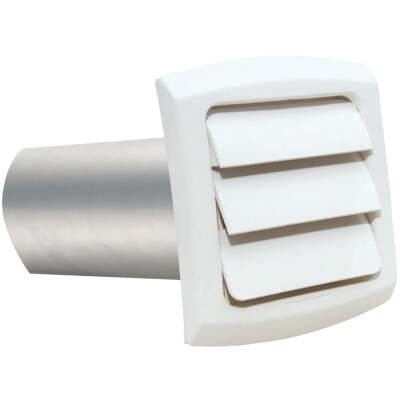 Dundas Jafine ProVent 4 In. White Louvered Dryer Vent Hood
