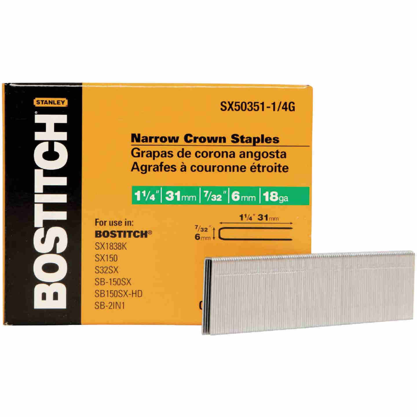 Bostitch 18-Gauge Galvanized Narrow Crown Finish Staple, 7/32 In. x 1-1/4 In. (3000 Ct.) Image 1