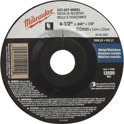 Milwaukee Type 27 4-1/2 In. x 0.045 In. x 7/8 In. Metal/Stainless Cut-Off Wheel