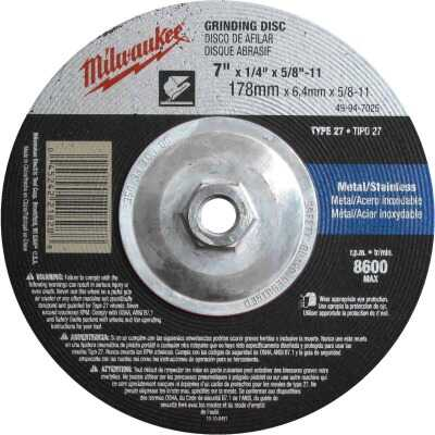 Milwaukee Type 27 7 In. x 1/4 In. x 5/8 In.-11 Metal/Stainless Grinding Cut-Off Wheel