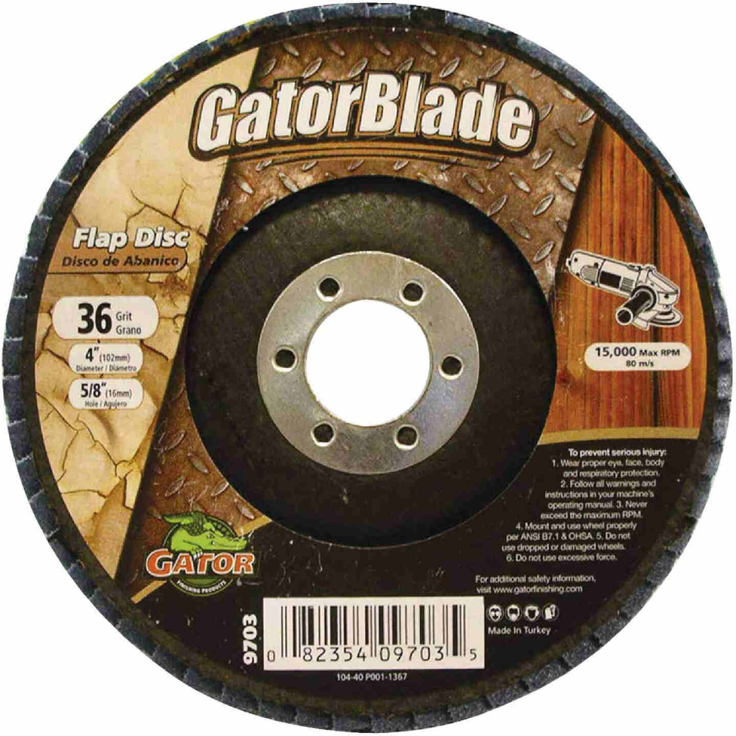 Gator Blade 4 In. x 5/8 In. 36-Grit Type 29 Angle Grinder Flap Disc Image 1