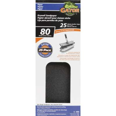 Gator 80 Grit 4-1/4 In. x 11-1/4 In. Drywall Sandpaper (25-Pack)