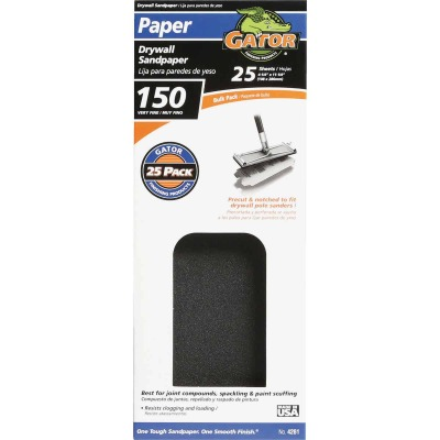 Gator 150 Grit 4-1/4 In. x 11-1/4 In. Drywall Sandpaper (25-Pack)