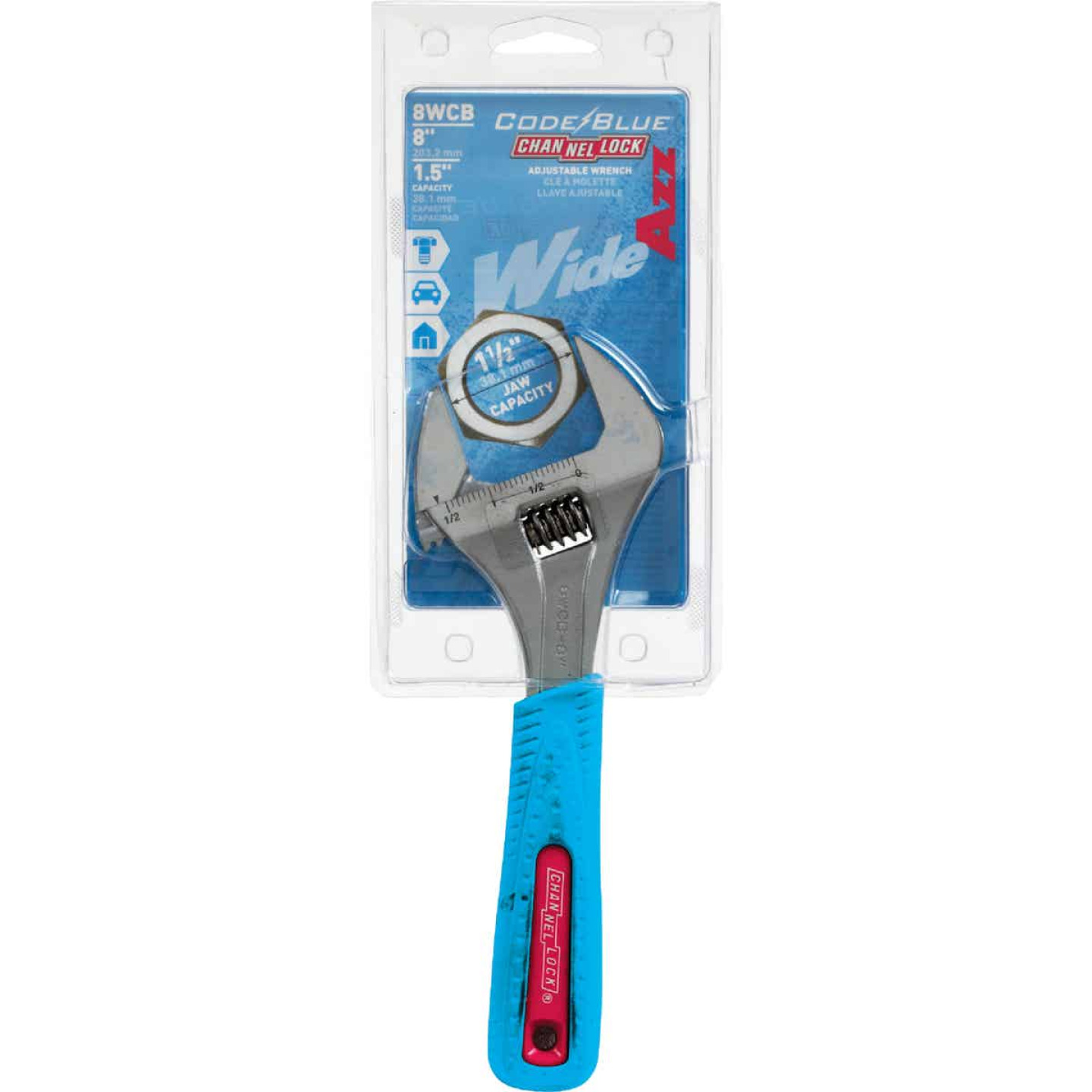 Channellock Code Blue 8 In. Wide Jaw Adjustable Wrench Image 2