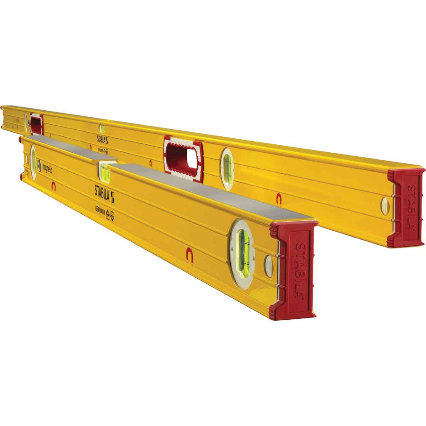 Stabila 78 In. and 32 In. Aluminum Magnetic Box Level 2 Piece Set Image 1