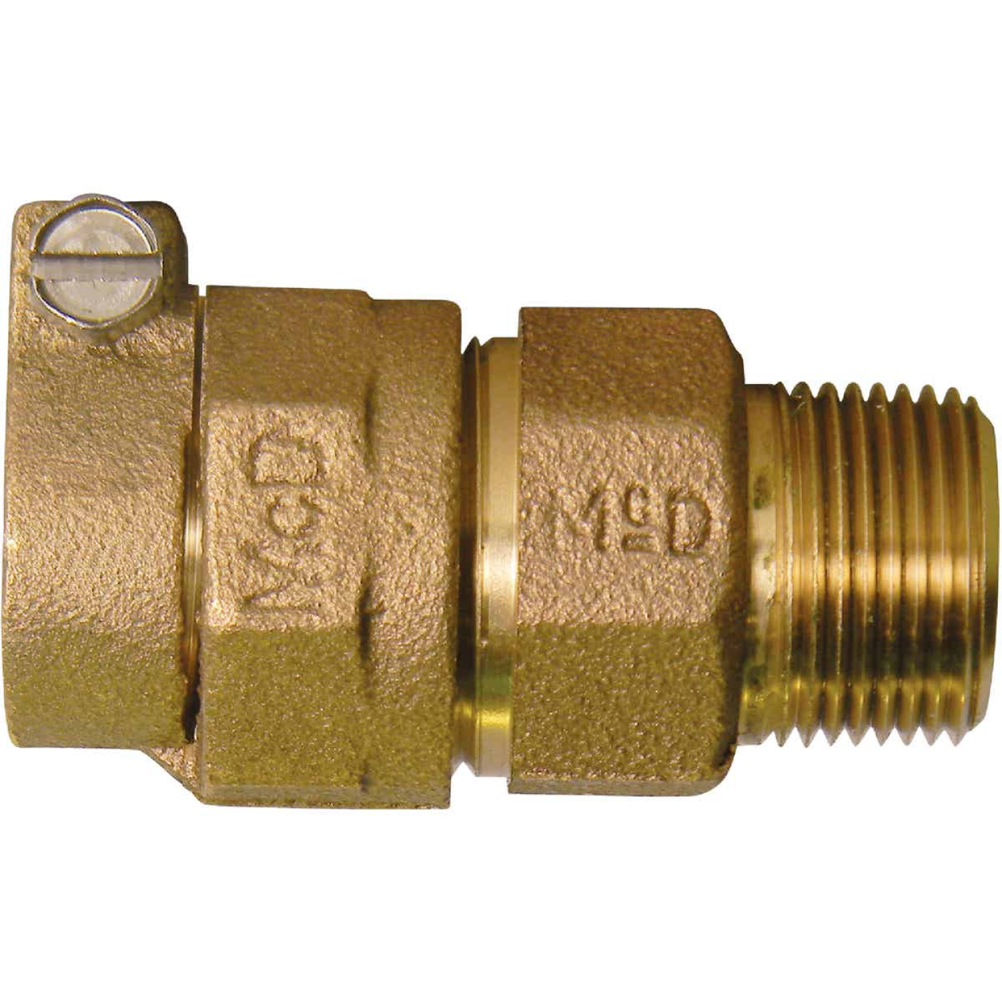 A Y McDonald 1 In. CTS x 3/4 In. MIPT Brass Low Lead Connector Image 1