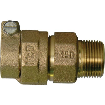 A Y McDonald 1 In. CTS x 1 In. MIPT Brass Low Lead Connector