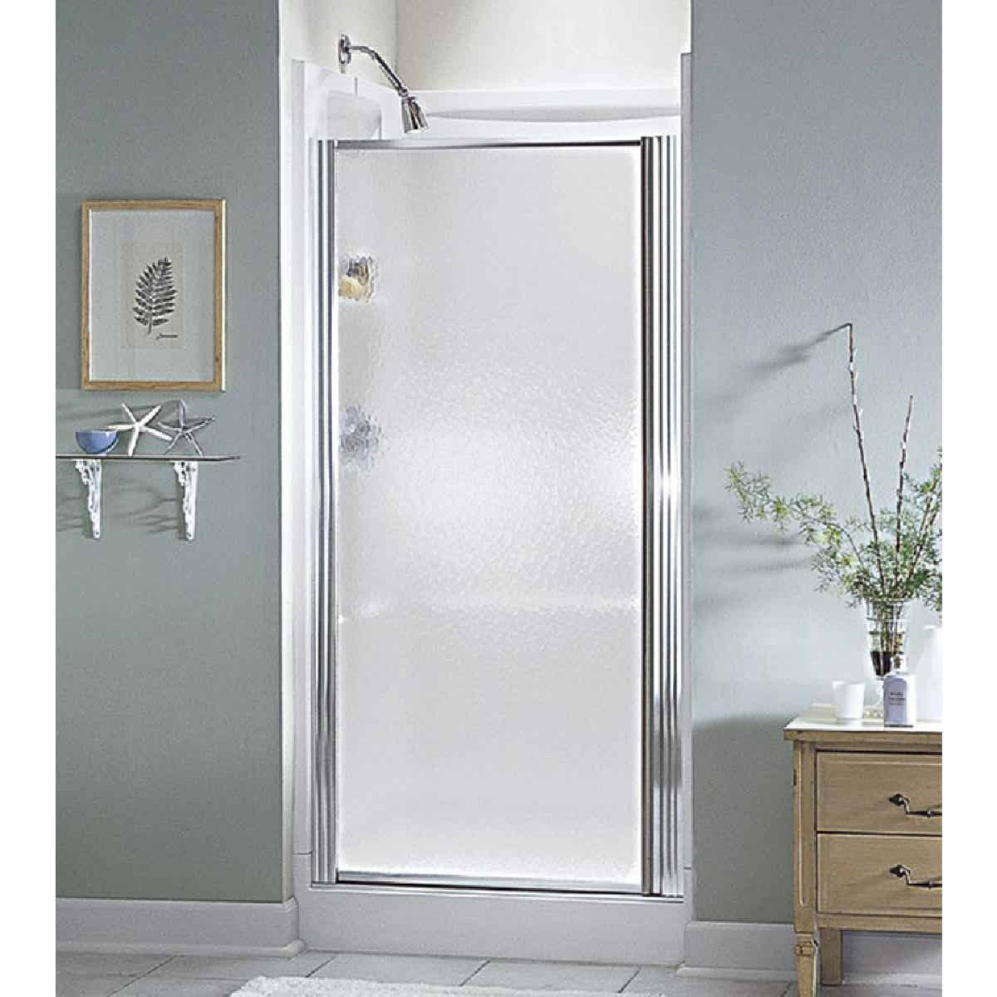 Sterling 30-1/2 In. W. X 64 In. H. Chrome Hammered Glass Standard Pivot Shower Door Image 1