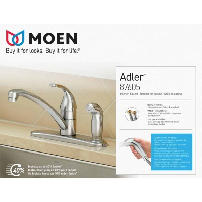 Moen Adler Single Handle Lever Kitchen Faucet with Deck Plate Spray, Chrome