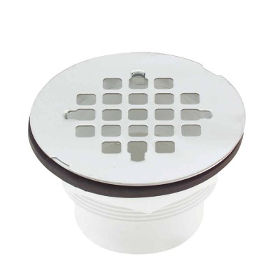 Jones Stephens 2 In. PVC Solvent Weld Shower Drain with 4-1/4 In. Stainless Steel Strainer