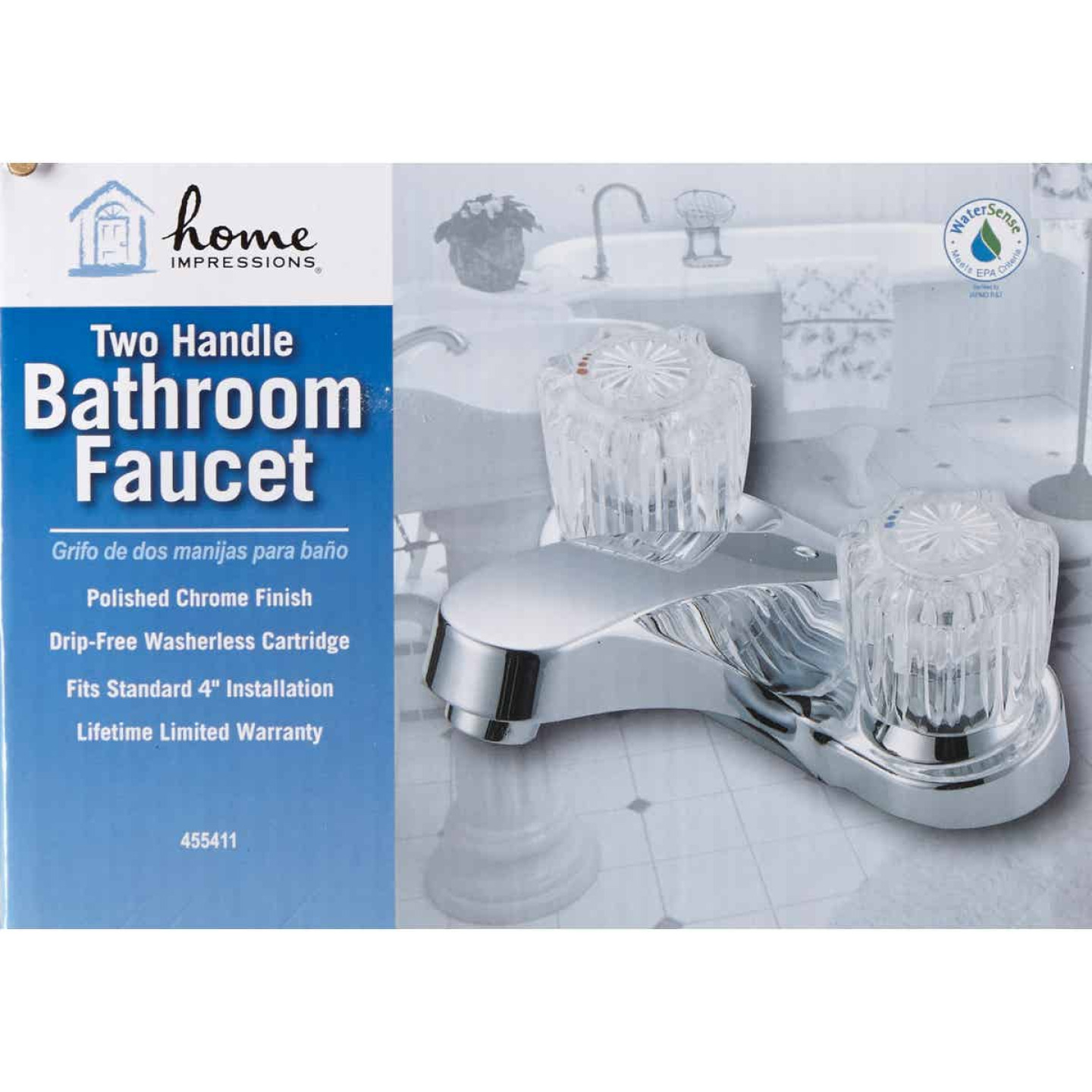 Home Impressions Chrome 2-Handle Knob 4 In. Centerset Bathroom Faucet Image 2