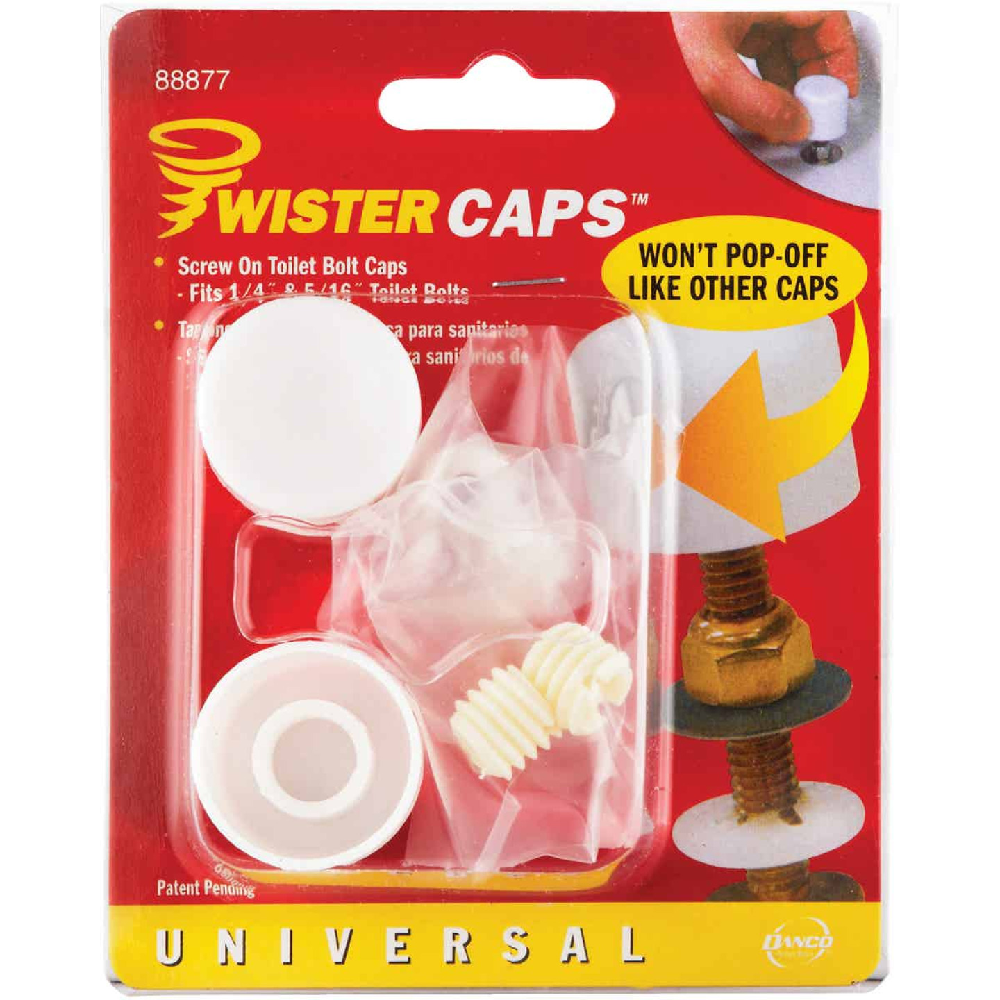 Danco Twister White Plastic Screw-On Toilet Bolt Caps (2-Ct.) Image 2