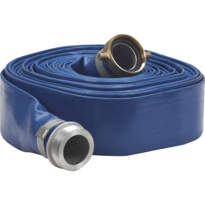 Apache 2 In. x 50 Ft. Blue Reinforced PVC Lay Flat Discharge Hose with Male/Female Connections