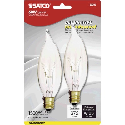 Satco 60W Clear Candelabra CA10 Incandescent Turn Tip Decorative Light Bulb (2-Pack)