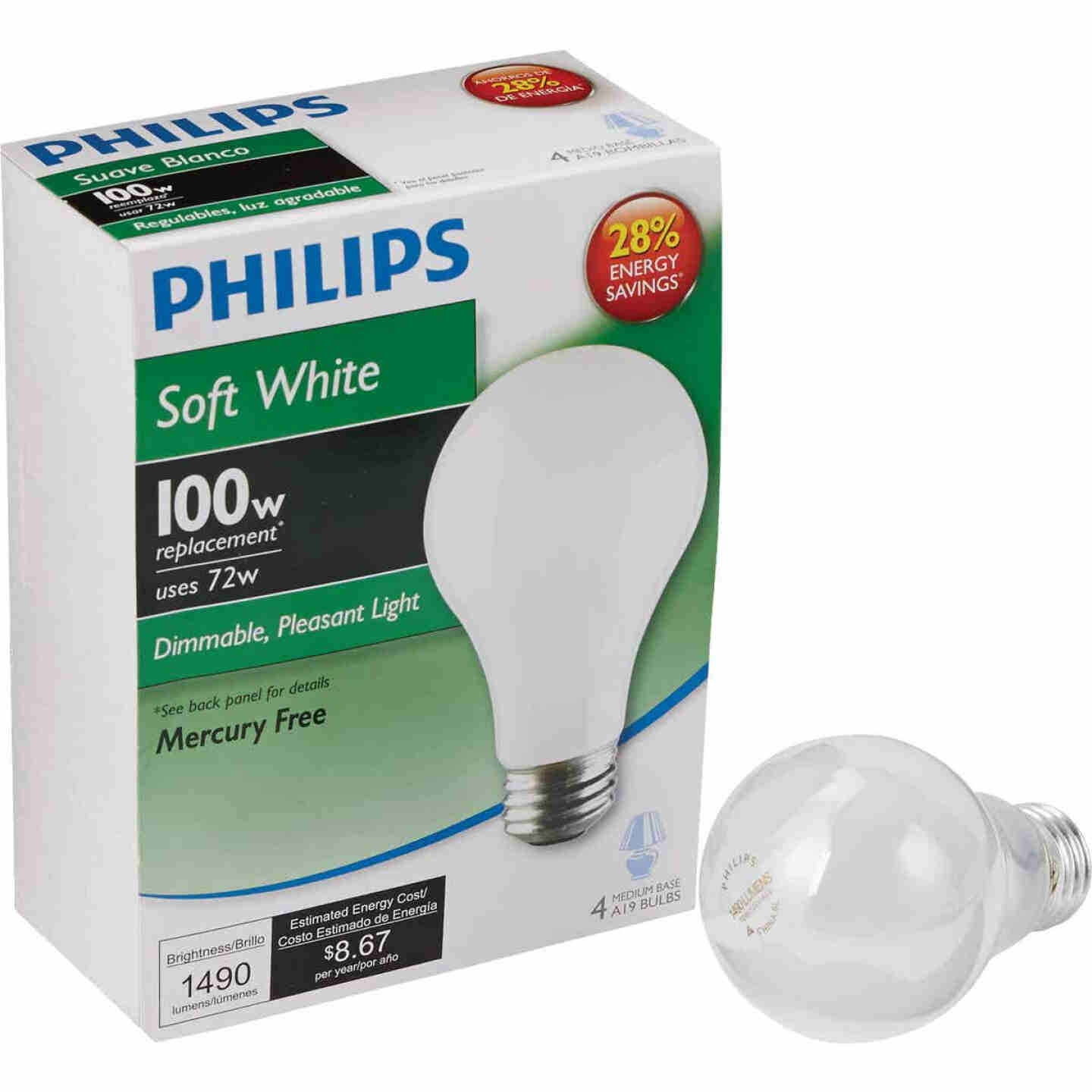 Philips EcoVantage 100W Equivalent Soft White Medium Base A19 Halogen Light Bulb (4-Pack) Image 1