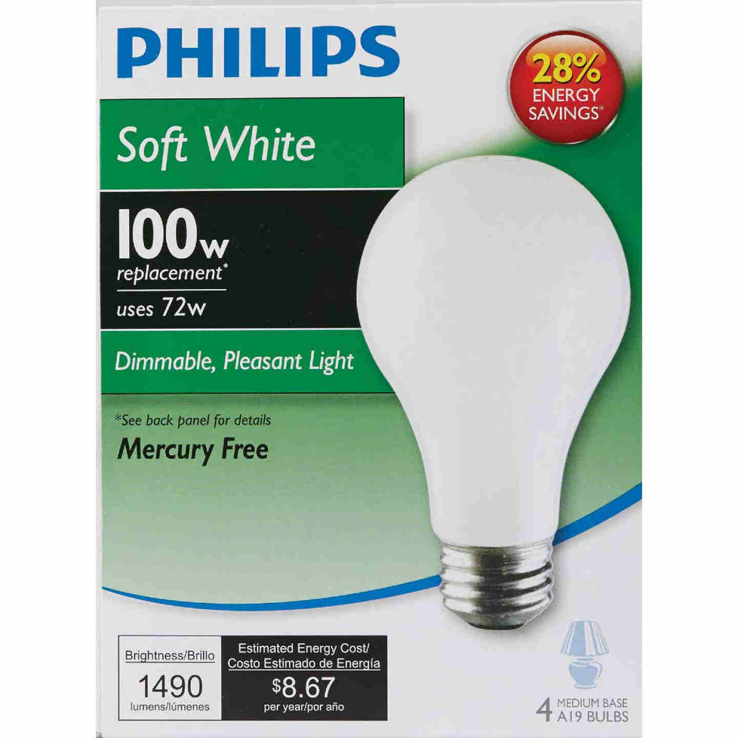Philips EcoVantage 100W Equivalent Soft White Medium Base A19 Halogen Light Bulb (4-Pack) Image 2