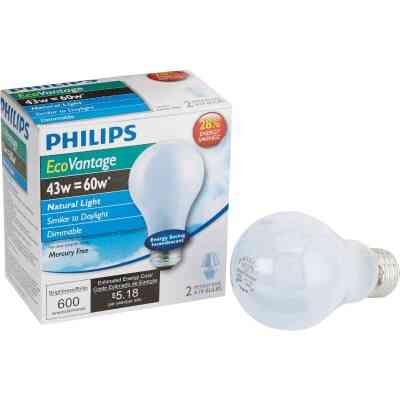 Philips 60W Equivalent Natural Light Medium Base A19 Halogen Light Bulb (2-Pack)