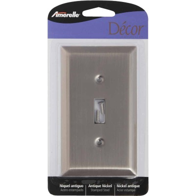 Amerelle 1-Gang Stamped Steel Toggle Switch Wall Plate, Antique Nickel