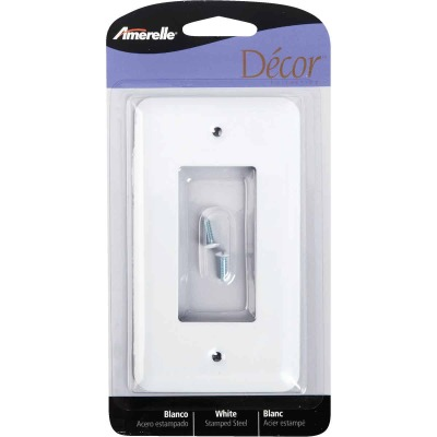 Amerelle 1-Gang Stamped Steel Rocker Decorator Wall Plate, White