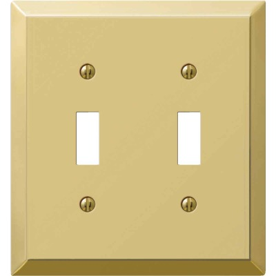 Amerelle 2-Gang Stamped Steel Toggle Switch Wall Plate, Polished Brass