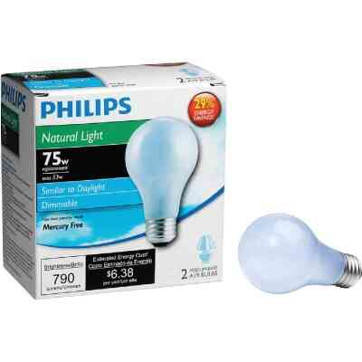 Philips 75W Equivalent Natural Light Medium Base A19 Halogen Light Bulb (2-Pack)