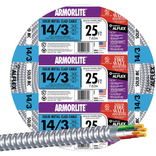Southwire 25 Ft. 14/3 MC Armored Cable