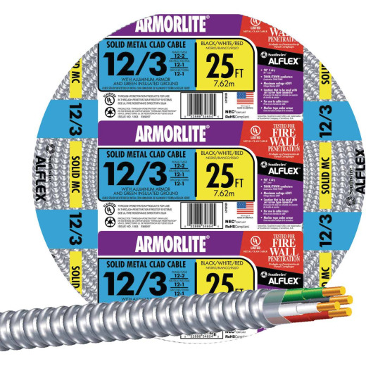 Southwire 25 Ft. 12/3 MC Armored Cable