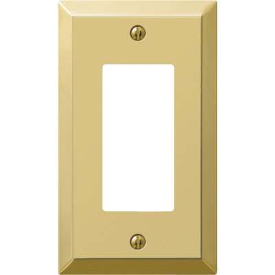 Amerelle 1-Gang Stamped Steel Rocker Decorator Wall Plate, Polished Brass