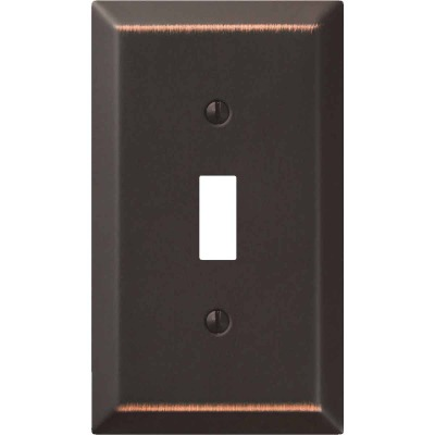 Amerelle 1-Gang Stamped Steel Toggle Switch Wall Plate, Aged Bronze