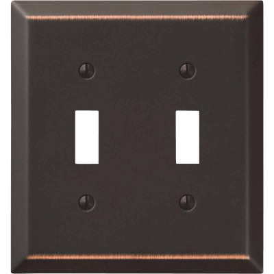 Amerelle 2-Gang Stamped Steel Toggle Switch Wall Plate, Aged Bronze