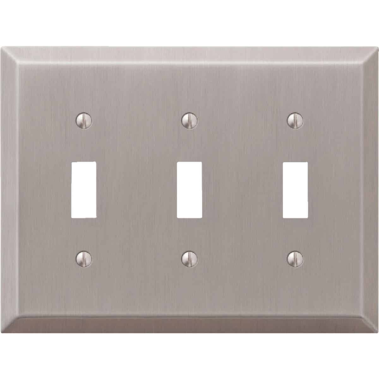 Amerelle 3-Gang Stamped Steel Toggle Switch Wall Plate, Brushed Nickel Image 1