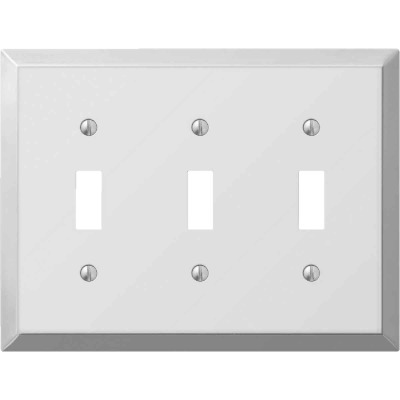 Amerelle 3-Gang Stamped Steel Toggle Switch Wall Plate, Polished Chrome