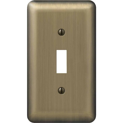 Amerelle 1-Gang Stamped Steel Toggle Switch Wall Plate, Brushed Brass