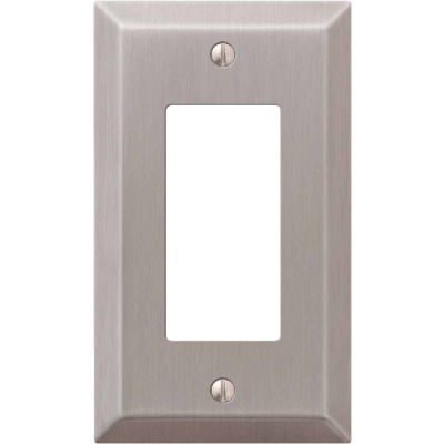 Amerelle 1-Gang Stamped Steel Rocker Decorator Wall Plate, Brushed Nickel