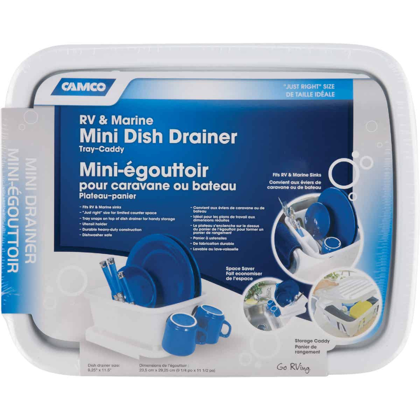Camco Heavy-Duty Plastic 9.50 In. x 11.69 In. White RV Dish Drainer Image 3