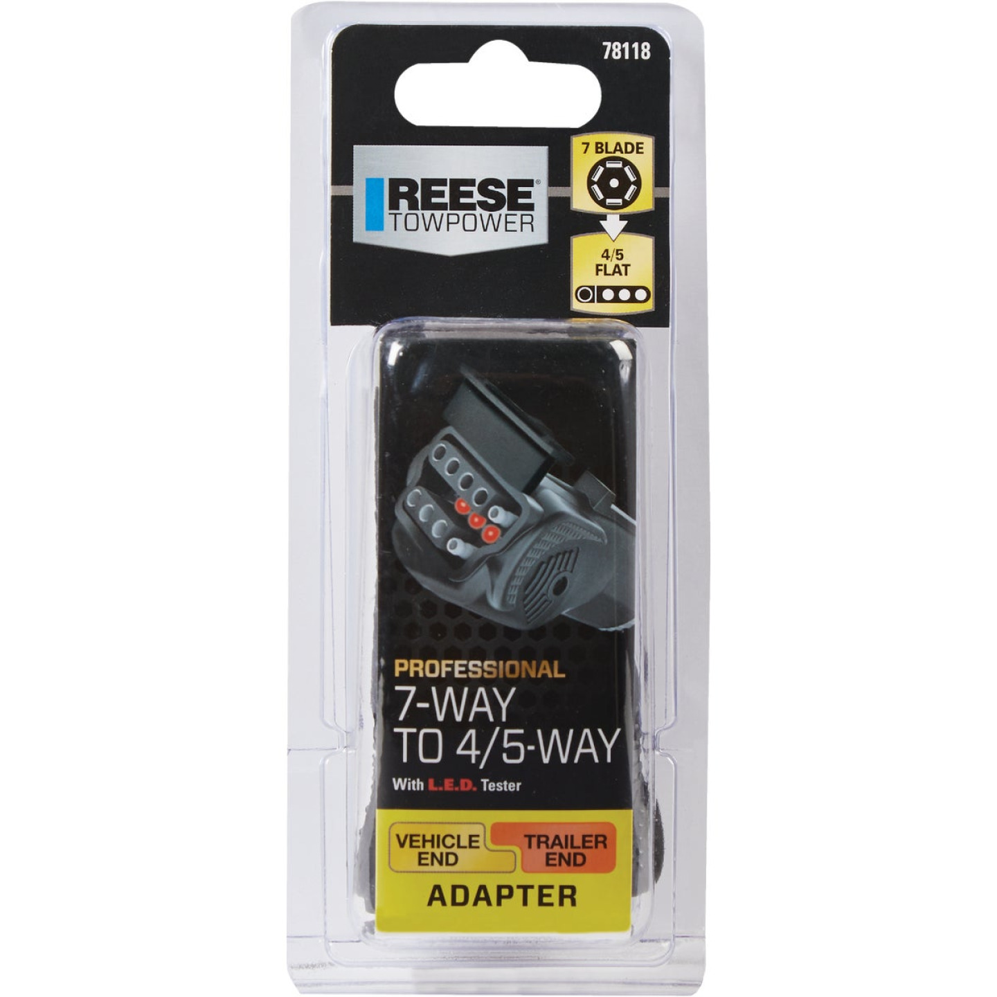 Reese Towpower Professional 7-Way to 4/5-Flat Plug-In Adapter w/LED Circuit Tester Image 2