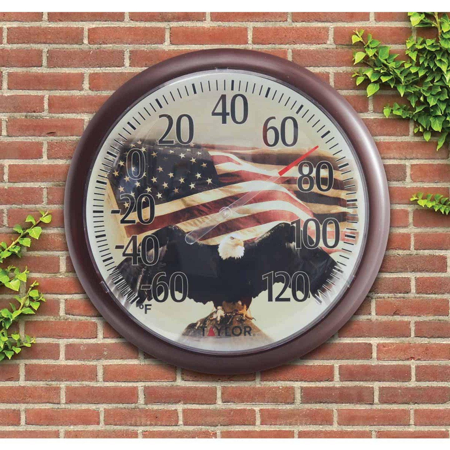 "Taylor SpringField 13-1/4"" Dia Plastic Dial Flag Indoor & Outdoor Thermometer Image 2"