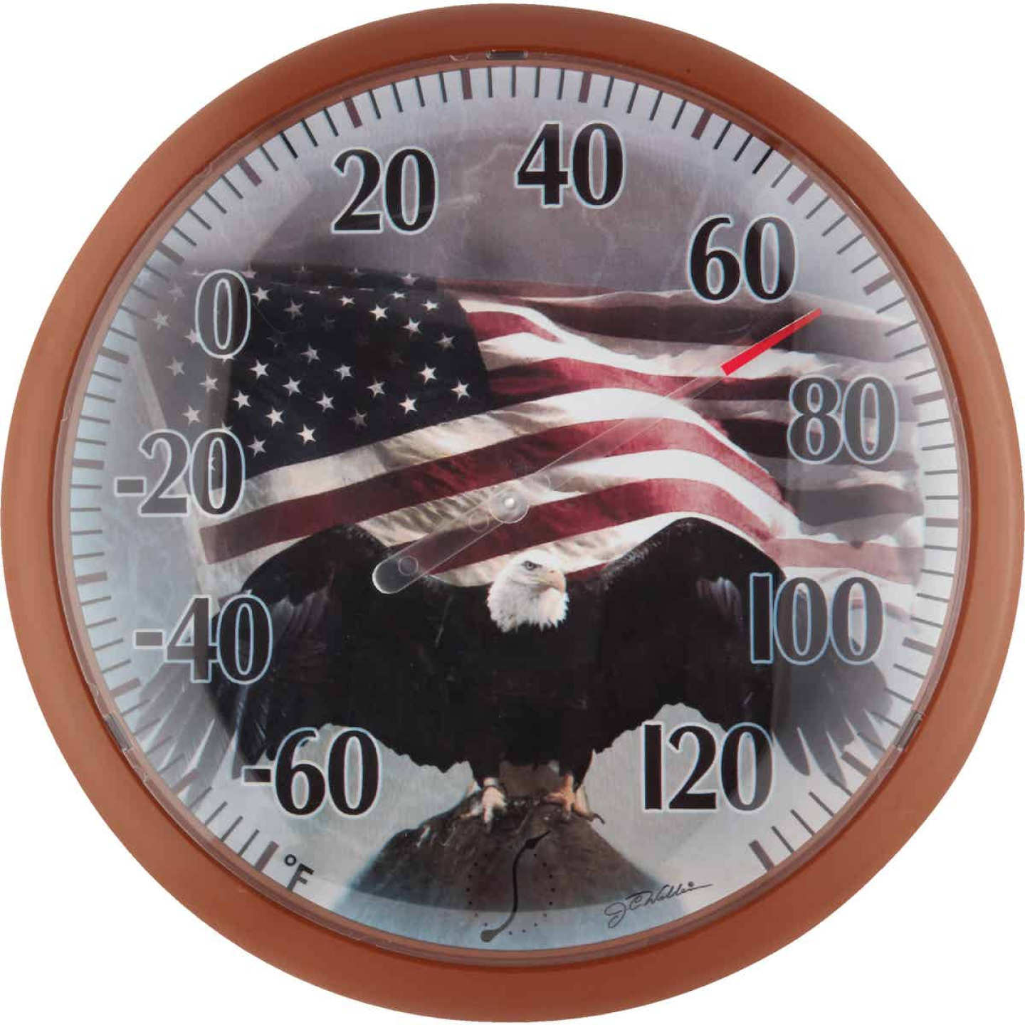 "Taylor SpringField 13-1/4"" Dia Plastic Dial Flag Indoor & Outdoor Thermometer Image 1"