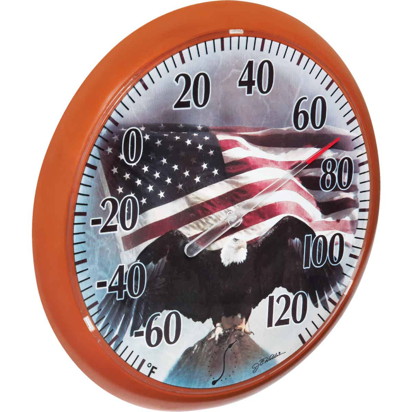 "Taylor SpringField 13-1/4"" Dia Plastic Dial Flag Indoor & Outdoor Thermometer Image 4"