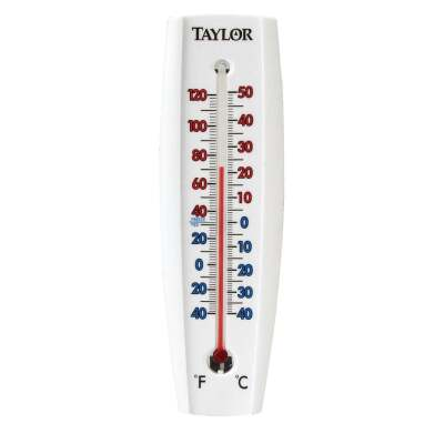 "Taylor 2-3/8"" W x 7-5/8"" H Aluminum Tube Indoor & Outdoor Thermometer"