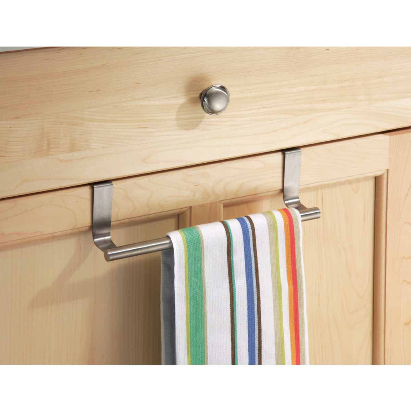InterDesign Zia 9-1/4 in. Brushed Stainless Steel Over The Cabinet Towel Bar Image 3