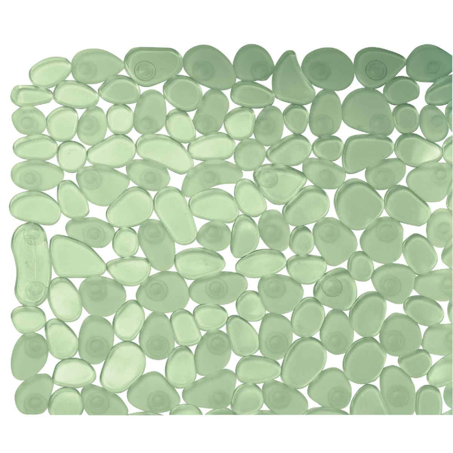 InterDesign Pebblz 13.75 In. x 26.50 In. Green Bath Mat Image 1