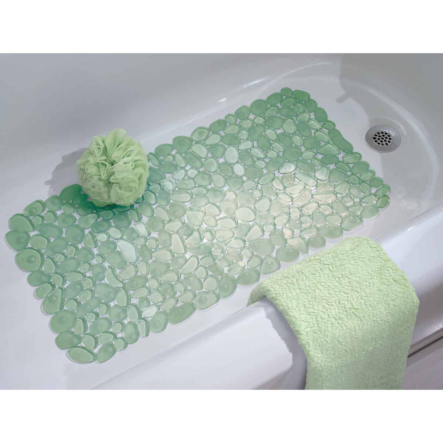 InterDesign Pebblz 13.75 In. x 26.50 In. Green Bath Mat Image 2