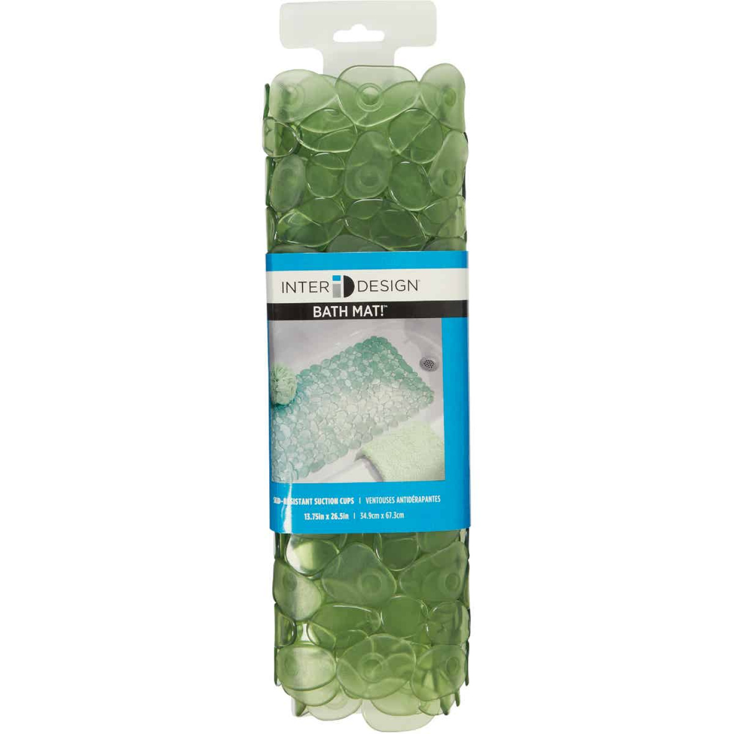 InterDesign Pebblz 13.75 In. x 26.50 In. Green Bath Mat Image 3