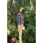 Outdoor Expressions 5 Ft. Natural Bamboo American Flag Patio Torch Image 2